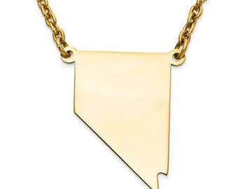 14K Yellow or White Gold Sterling Silver or Gold Plated Silver Nevada NV State Map Name Necklace Personalized Engraved Monogram CMZ415