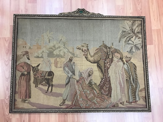 """2'2"""" x 3' French Tapestry With Vintage Frame - 1950s"""