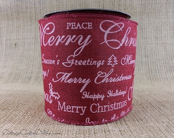 """Christmas Wired Ribbon, 4"""",  Burgundy Red with White Script - TEN YARD Roll -  d. stevens """"Holiday Greetings""""  Wire Edged Ribbon"""