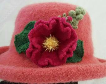 Hand Knit Wool & Mohair Felt Hat - Rose w Hollyhock (CUSTOM ORDER ONLY)