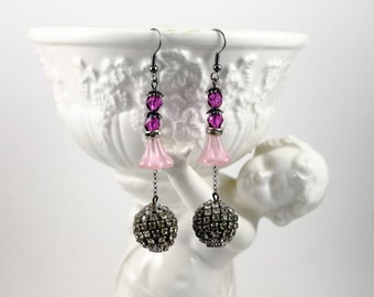 Vintage Assemblage Earrings featuring Rhinestone Disco Ball Beads, Fuschia Glass Beads and Rose Quartz Bell Flower Beads - by Boutique Bijou