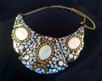 Mother of Pearl Bib Necklace,Mosaic Necklace,Mother of Pearl Jewelry,STATEMENT Choker NECKLACE by Taneesi