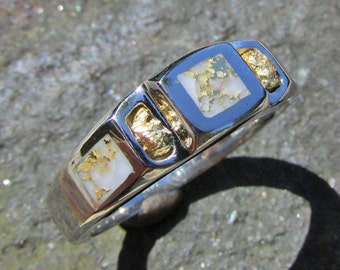 Gold Nugget Ring Rustic 14k Gold Veined Quartz Ring Gold in