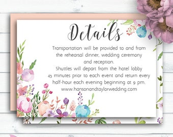 Customized Floral Wedding Card, Details Card, Enclosure Card,Printable Details,Watercolor Invitation Insert,Bohemian Wedding,Vintage Wedding