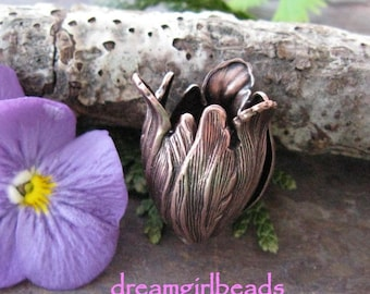 3 PC Antique Copper Blooming Tulips 11x9 mm