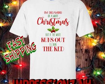 Funny Christmas tshirt - funny wine shirt - wino gift, Christmas humor, ugly sweater- yankee swap gift - secret santa