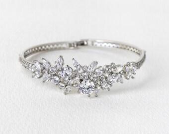 Silver Wedding Bangle, Wedding Bracelets, Swarovski Bracelet, Bridal Jewelry, Wedding Accessories, Crystal Bracelet, Wedding Jewelry, B250-S