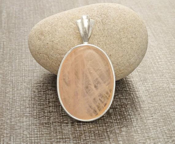 Quartz Silver Pendant - Sterling Silver Pendant, Rose, Rose Quartz, Unique jewelry, Vintage Style, Antique Style. Gemstone, Brithstone.