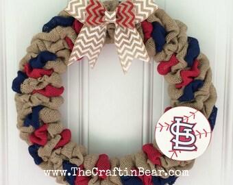 St. Louis Cardinals burlap wreath - St. Louis Cardinals wreath - Cardinals wreath - St. Louis decor - Cardinals decor - Baseball wreath