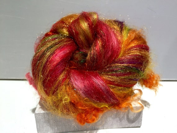 "Fiber art batt, felting wool, spinning fiber, roving, ""Beverly's Fire"" RTS, Red, Yellow, Gold, Cranberry, Violet, Green"