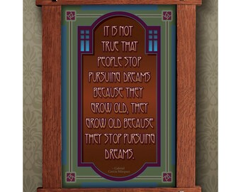 Arts and Crafts Framed Print. Pursuing dreams subject. Great for Arts and Crafts, Mission style and Craftsman homes.