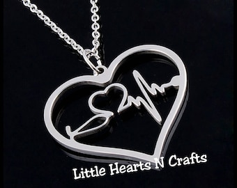 Stainless steel heart necklace, stethoscope necklace, heartbeat necklace, EKG necklace, stethoscope heart beat necklace