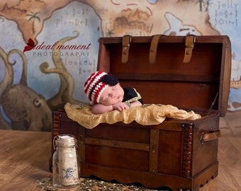 Pirate Hat and Eye Patch/Newborn Photo Prop/ Baby Boy Prop/ Nautical Theme Nursery/ Sailor Theme