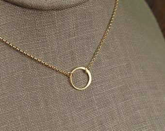 Small gold circle link and gold filled necklace, tiny circle necklace, infinity necklace, simple gold necklace, gold ring