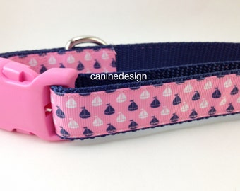 Dog Collar, Sailboats on Pink, 1 inch wide, adjustable, quick release, metal buckle, chain, martingale, hybrid, nylon