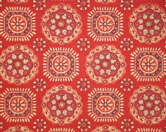 Retro Wallpaper by the Yard 60s Vintage Wallpaper - 1960s Red and Gold Geometric