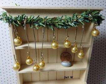 Christmas Tree ornaments - Set W (1:12 scale / Dollhouse miniature)
