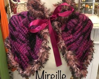 Neck Wrap shoulder faux fur and wool
