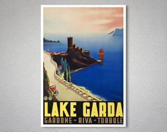 Lake Garda Italy Vintage Travel Poster - Poster Print, Sticker or Canvas Print / Gift Idea