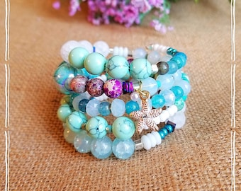 Wire-wrapped, beaded, stacked bracelet in tropical blue