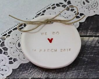 Custom We Do Ring bearer pillow alternative, Wedding ring bearer We Do Ring dish Ring pillow alternative Ceramic ring holder
