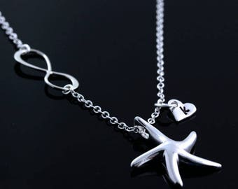 Infinity necklace, Starfish Necklace, Sterling Silver Starfish AND infinity, with personalized charms. Silver Starfish Jewelry, By MonyArt