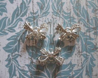 Jewelry Connectors - Silver Bows with Clear Rhinestones - 14 x 19mm - 3 pieces