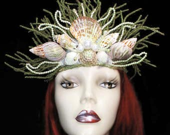 Mermaid Queen Crown Headdress Nautical Ocean Hat Sea Nymph Headpiece Seashell Fancy Dress