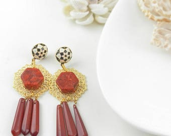 Red Statement Earrings Long Red and Gold Chandelier Earrings Gemstone Earrings Party Earrings Coral Earrings