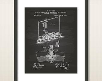 Malt Liquor Apparatus 1882 Patent Art Illustration - Drawing - Printable INSTANT DOWNLOAD - Get 5 Colors Background