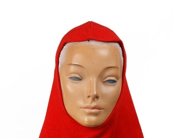 ON SALE 1950s Hat // Red Jersey Knit Hood