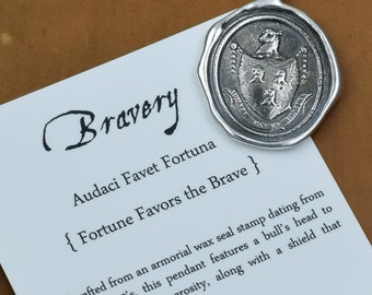 Fortune Favors the Brave -  Bull wax seal necklace - Bull necklace wax seal jewelry - 119