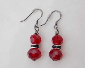 Ruby Red & Black Faceted Bead Dangle Earrings with Gun Metal Ear Hooks