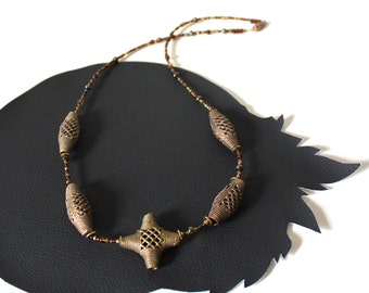 Woven Bronze Metal and Orange Bead Necklace - Vintage