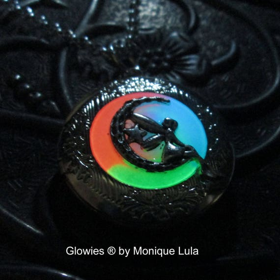 Rainbow Moon Fairy Glow Locket Crescent Star