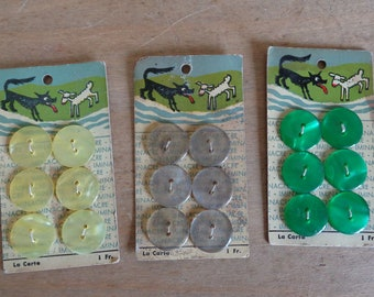1950s buttons on original card, set of 6 cute pearlised children's buttons, wolf and lamb