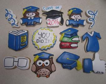 13 Hand Decorated Graduation Cookies