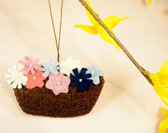 Flower basket  felt ornament, Mother's Day gift, Easter decor, spring, home decoration,  handmade