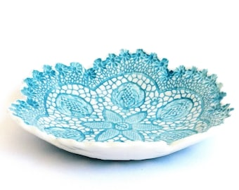 Fine porcelain, ceramic antique lace bowl, romantic, home decor, handmade gift, blue and white, jewellery bowl, vintage style