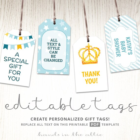 Printable Baby Shower Gift Tags Editable Party Favor Labels Thank