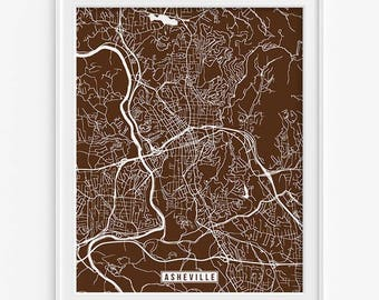 Asheville Print, North Carolina Poster, Asheville Poster, Asheville Map, North Carolina Print, Carolina Map, Street Map, Fathers Day Gift