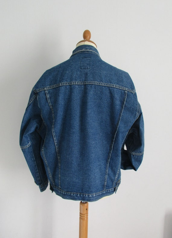 Mens denim jacket, vintage 80s retro, long sleeve, button up, French jean jacket, coat, x large