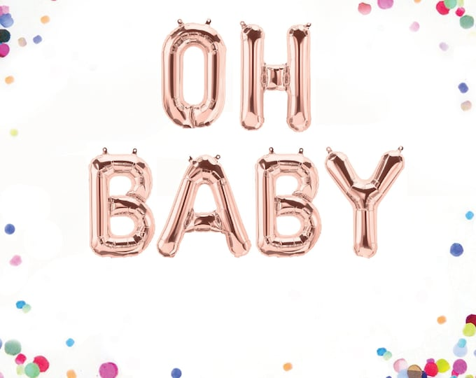 """Oh Baby Balloon, Oh Baby Banner, Baby Balloon Letters, Letter Balloons 40"""", Letter Balloons 14"""", Baby Balloon Banner, Baby Letter Balloons"""