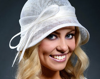 white simple and elegant cloche hat for women- Made to order according to the customers headsize