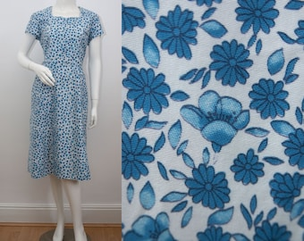 "1960s Floral Print Dress 31"" Waist Blue Floral Summer Day Dress 60s Fit and Flare Short Sleeves Rockabilly Morvic"