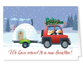 New Address / We've Moved Holiday Card 18 Cards/ 19 Envelopes - 20029a