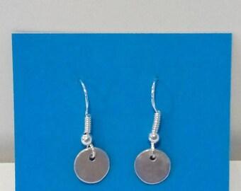 Simple silver disc earrings