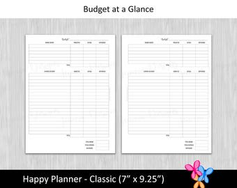 HP Classic: Budget at a Glance • Budget Binder Printable Page Insert for Happy Planner Classic sized Disc or Ring Bound Planners