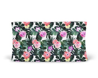 Changing Pad Cover Tropical Floral - Floral Changing Pad - Tropical Changing Pad - Girl Changing Pad Cover - Minky Changing Pad - Organic