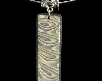 Gold & Silver Pendant Necklace, Mokume Gane Polymer Clay Jewelry, Unique Jewelry Gift for Her, Mom Gift, Friend Gift, Handmade Jewelry